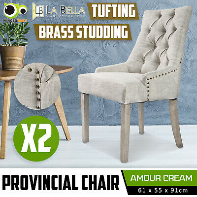 2 x Dining Chair French Provincial Brass Studded Fabric Oak Legs Cafe AMOUR - CR
