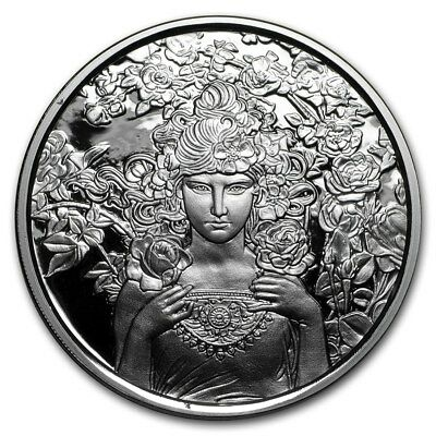 Rose - The Mucha Collection - 1 oz 999 Fine Silver Proof Round COA