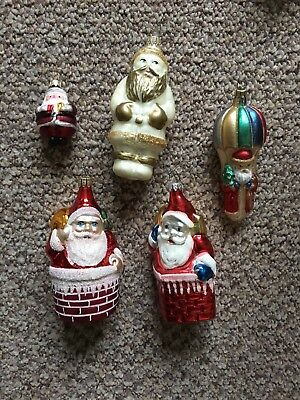 Vintage Style Lauscha Glas German Glass Christmas Ornaments Old Santa's