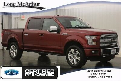"""2016 Ford F-150 PLATINUM 4X4 6 SPEED AUTOMATIC SUPER CREW CAB TRUCK 4WD 5.0 V8 4WD 4 DOOR NAV PRO TRAILER BACKUP ASSIST HEATED COOLED SEATS BLIS 20"""" WHEELS"""