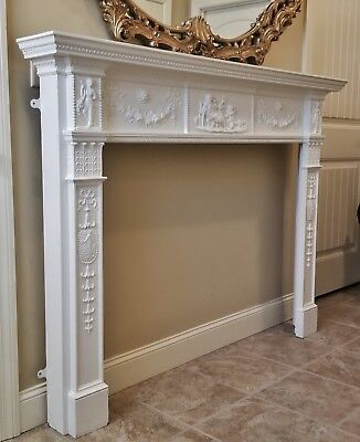 Antique Vtg Adams Style Fireplace Surround Mantel Carved Wood Figures Medallions