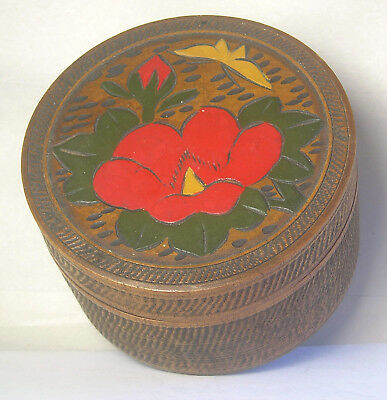 An Antique 20th Century Japanese Hand Carved Box and Coaster Set A22