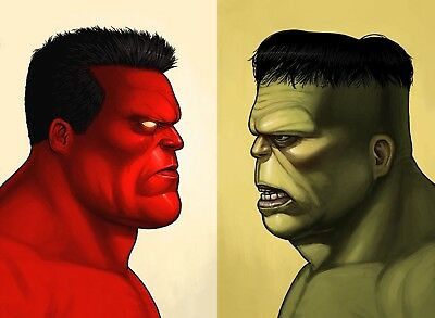 ((COMBO)) Hulk & Red Hulk Mondo Mike Mitchell Portrait Print Set Marvel
