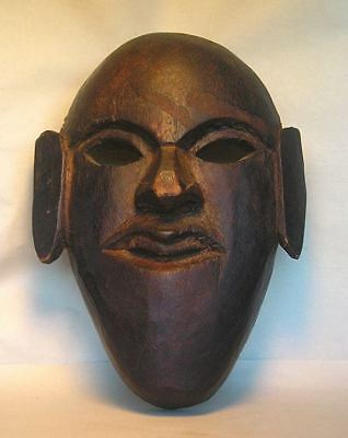 An Antique Chinese Carved Wood Folk Tribal Mask With Wax Export Stamp Z14