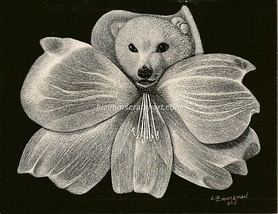 $40.00 OFF - Nature Rose Hibiscus Flower ORIGINAL Scratchboard 8.5x11 by LVZimm