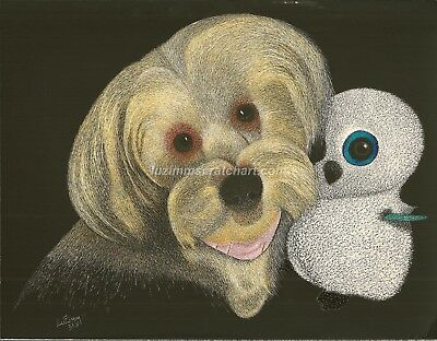 "$40.00 OFF - Animal Dog Cat  ORIGINAL Scratchboard Art 8.5x11""  by LVZimm"