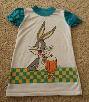 Vintage Childrens Clothing 90s Looney Tunes Bugs Bunny Night Shirt 2T Warner Bro