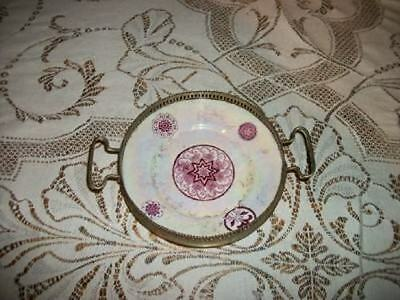VICTORIAN AESTHETIC ANTIQUE 1880s LUSTERWARE SILVER ENGLISH NUT DISH CHIC SHABBY