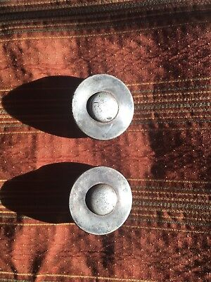 "Antique Horse Bridle Rosettes Pair Large 2-1/4"" Metal - Beautiful Patina!"