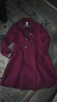 MONSOON girls dress coat red 12-13 year 1 missing button lined gold