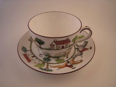 Vintage Crown Staffordshire Hunting Scene Tea Cup Saucer Set England Disc