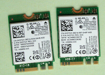 Original Intel Dual Band AC7265 Model7265NGW 802.11AC 867Mbp  NGFF 0K57GX 2St.