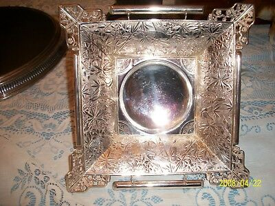 Large Antique Aesthetic Pairpoint Quadruple Silver Plate Fruit Bowl--Very Ornate