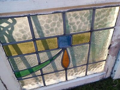 5 Original Reclaimed Vintage Leaded 1930 Stained Glass Window & frame