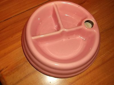 Vintage Ceramic Pottery Baby Food Warming Feeding Dish Bowl Hole For Warm Water