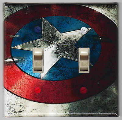 Captain America Shield Double Light Switch Cover Plate - Marvel Comics