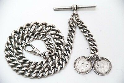 ANTIQUE SOLID SILVER ALBERT POCKET WATCH CHAIN + 2 SILVER COIN FOBS (60.3grms)