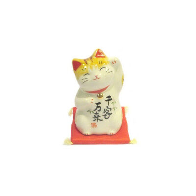 Chat Japonais 75mm  Patte levée Maneki Neko porcelaine Made in Japan 40594