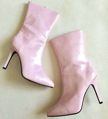 Fredericks of Hollywood Patent Leather Mid Calf Boots 8 Heels Baby Pink Shimmer