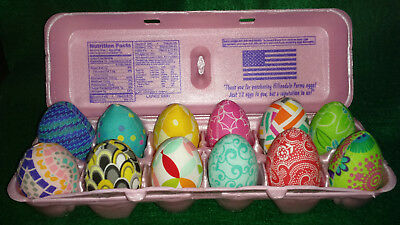 1 Dozen Fabric Printed Grade A sized Easter Eggs Bowl filler/ornies