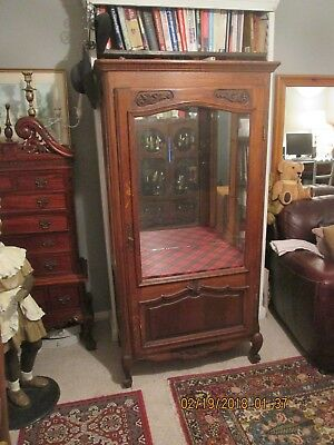 French antique Louis XV oak one door 3- sided glazed display cabinet,
