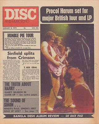 DISC and Music Echo Magazine 8th January 1972. Humble Pie. Nilsson.