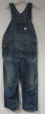 Vintage Denim Overalls Big Mac Square Bak Sanforized Mens 37X31 Distressed Bibs