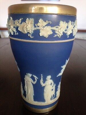 Wedgwood Decorative Blue Vase with Figurines in White Relief