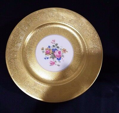 12 Royal USA Limoges Dinner Plates  Encrusted with Heavy 22KT Gold Floral Center