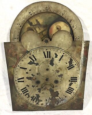 """Antique Long Case Grandfather Rolling Moon Dial Radford Hanley 20"""" By 14"""""""