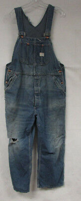 Vintage Denim Overalls Big Mac Square Bak Sanforized Mens 36X29 Distressed Bibs