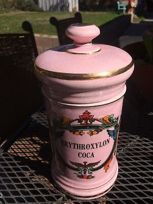"Vintage Porcelain, Large ""COCA"" Apothecary. Pharmacy Hand Painted Jar,  pink."