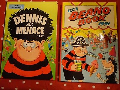 2   vintage  annuals, BEANO 1991 & DENNIS THE MENACE 1987  superb &  unclipped