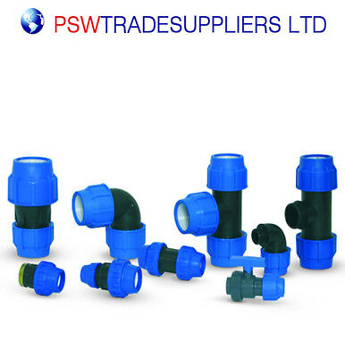 MDPE Plastic Compression Fitting 20mm PE- LDPE Water Pipe WRAS Approved