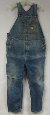 Vintage Denim Overalls Big Mac Square Bak Sanforized Mens 38X30 Distressed Bibs