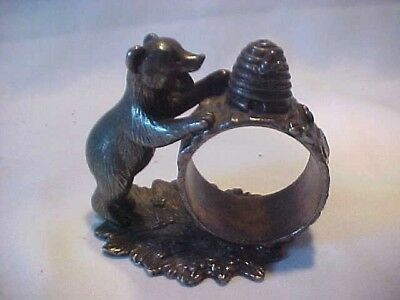 Reed and Barton 1824 Coll.silver plated BEAR W/ BEEHIVE napkin ring  clean 2000