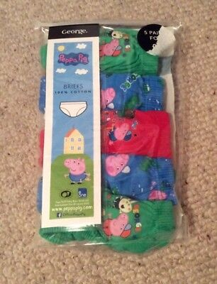 Boys Peppa Pig George Pig 5 Pack Briefs / Underpants 12-18 Mths BNIP
