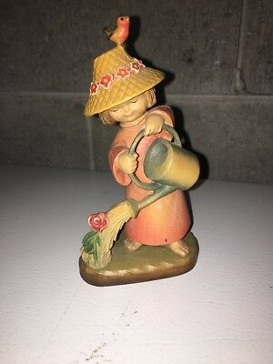 Nice Vintage Anri Ferrandiz Carved Wood Girl With Watering Can Figurine Italy