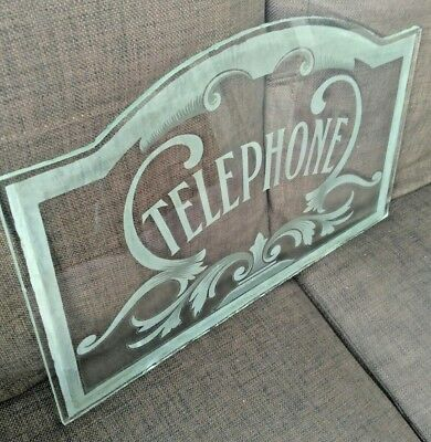 Vintage Reclaimed Telephone Booth Kiosk Etched Glass Pane Panel Art Nouveau Wow