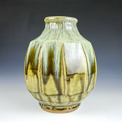 Mike Dodd (B 1953) Cut Sided Vase Dripping Ash & Nuka Glaze Incisions To Neck