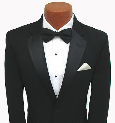 High Quality Black Jean Yves Super 100's Wool Two Button Notch Tuxedo Jacket