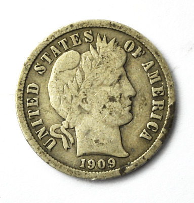 1909 10c Barber Liberty Dime Ten Cents US Philadelphia