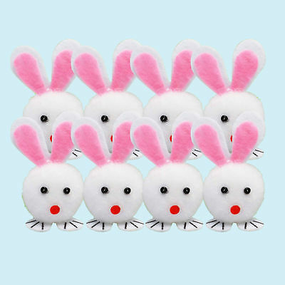 Easter Arts Craft Bonnet Decorations Egg Hunt - 8 Pack Pom Pom Bunnies