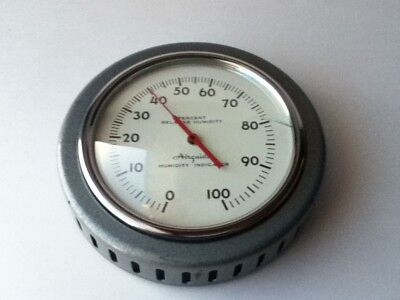 """Vintage Airguide 4.5"""" Silver Metal Percent Humidity Indicator Wall Hanging"""