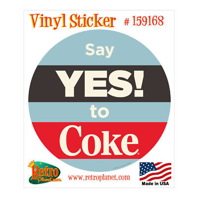 Coca-Cola Say Yes to Coke Blue Red Vinyl Sticker Vintage Style Decal