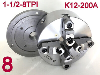 "1 pc Lathe Chuck 8"" 4Jaw Self Centering w/Back Plate 1-1/2""-8TPI K12-200A sct888"