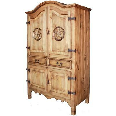 Rustic Handmade Solid Wood Armoire Wardrobe Closet in Vintage Antique Style New