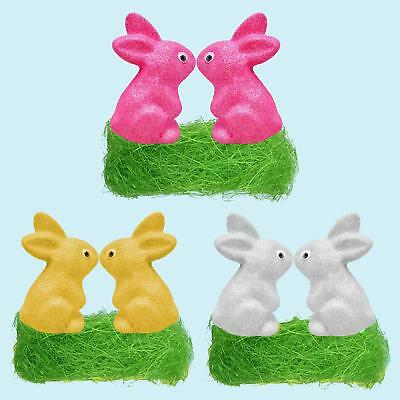 Easter Arts Craft Decorations Egg Hunt - 2 Glitter Bunnies & Grass