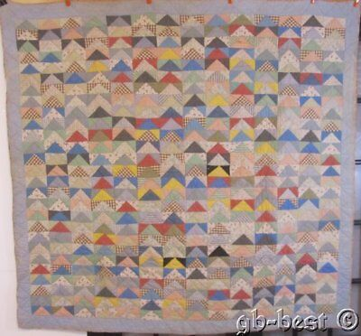 """PA Farmhouse c1900s """"Geese in V Form"""" AMAZING pattern QUILT Vintage Lancaster Bl"""