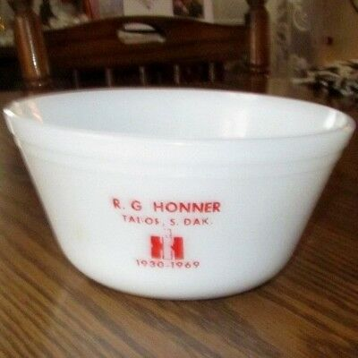 Vintage MilkGlass Bowl Advertising IH International Harvester Tabor South Dakota